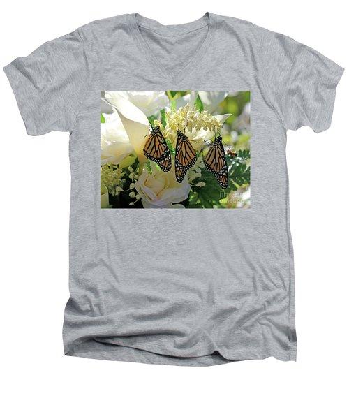 Monarch Butterfly Garden  Men's V-Neck T-Shirt by Luana K Perez