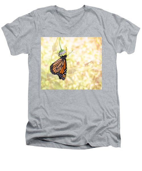 Monarch Butterfly Hanging On Wildflower Men's V-Neck T-Shirt