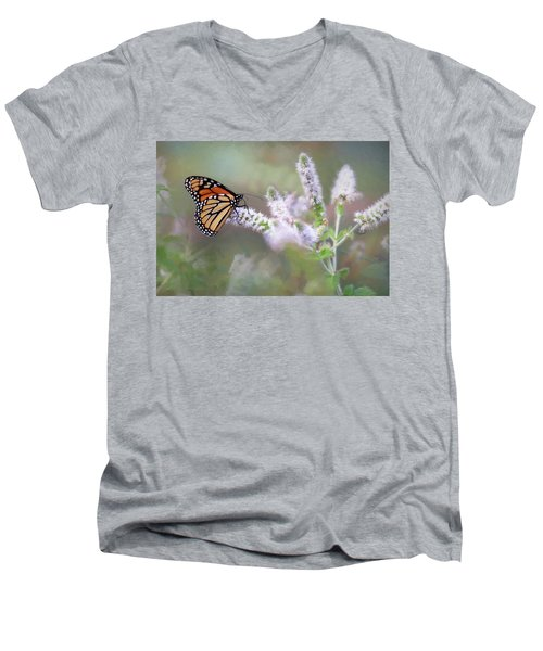 Men's V-Neck T-Shirt featuring the photograph Monarch On Mint 1 by Lori Deiter