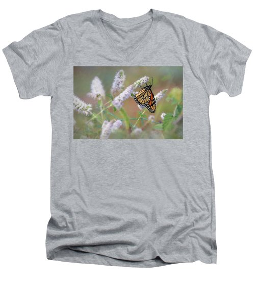 Men's V-Neck T-Shirt featuring the photograph Monarch On Mint 2 by Lori Deiter