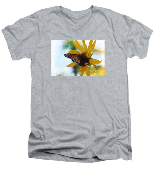 Men's V-Neck T-Shirt featuring the photograph Monarch With Sunflower by Yumi Johnson