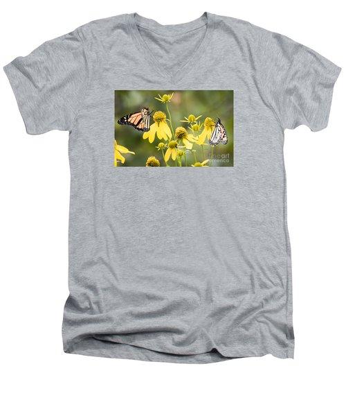 Monarchs Of Wisconsin Men's V-Neck T-Shirt by Ricky L Jones