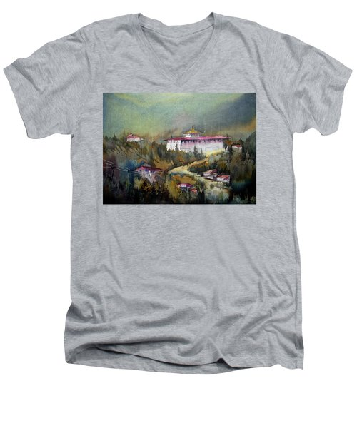 Men's V-Neck T-Shirt featuring the painting Monastery In Mountain by Samiran Sarkar