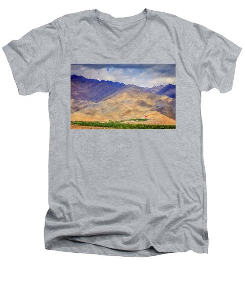 Men's V-Neck T-Shirt featuring the photograph Monastery In The Mountains by Alexey Stiop
