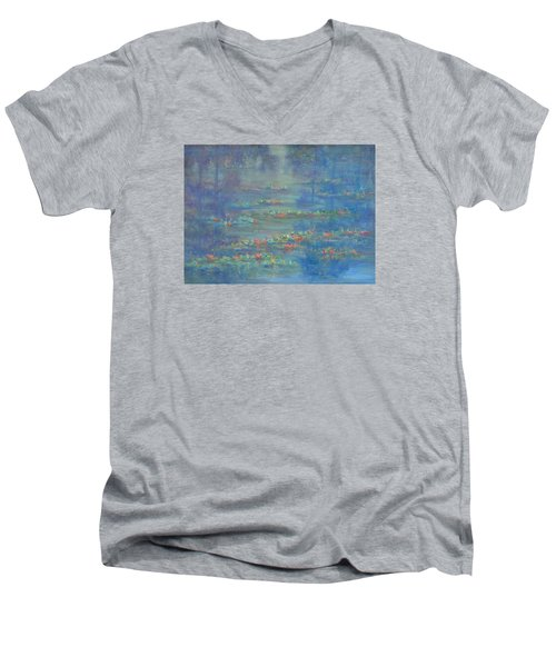 Monet Style Water Lily Pond Landscape Painting Men's V-Neck T-Shirt