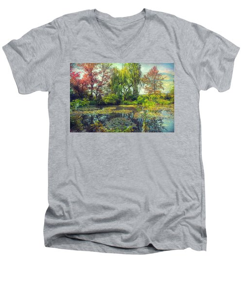 Monet's Afternoon Men's V-Neck T-Shirt by John Rivera