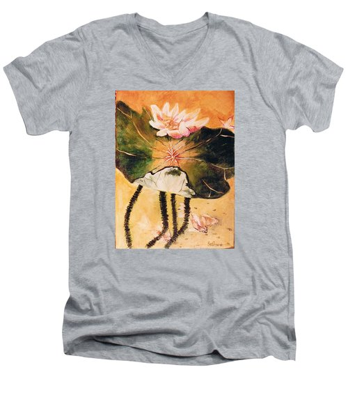 Monet's Water Lily Men's V-Neck T-Shirt by Seth Weaver