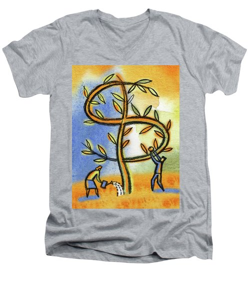 Men's V-Neck T-Shirt featuring the painting Money Tree by Leon Zernitsky