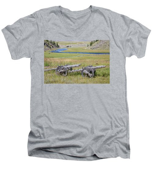 Men's V-Neck T-Shirt featuring the photograph Mongolian Ox Carts by Hitendra SINKAR