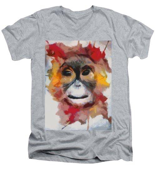 Monkey Splat Men's V-Neck T-Shirt by Catherine Lott