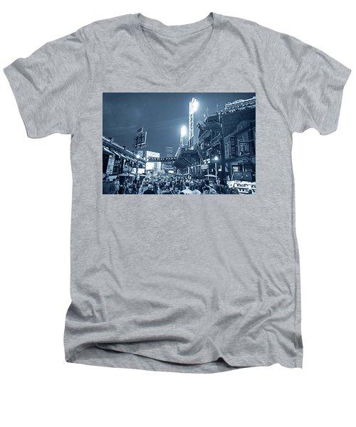 Monochrome Blue Nights Boston Ma Lansdowne St Fenway Park Game Night Men's V-Neck T-Shirt