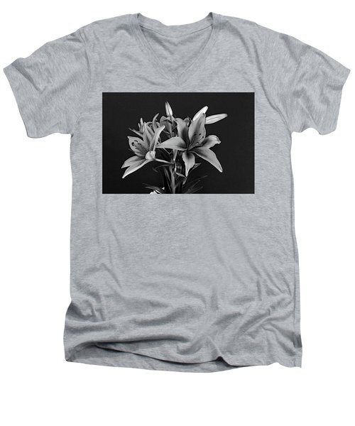 Men's V-Neck T-Shirt featuring the photograph Monochrome Grace by Dorin Adrian Berbier