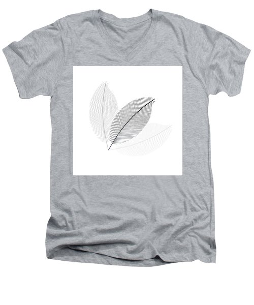 Monochrome Leaves Men's V-Neck T-Shirt