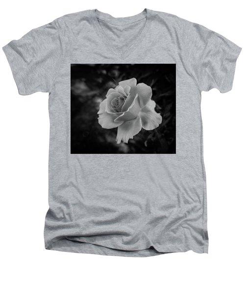 Monochrome Rose Macro Men's V-Neck T-Shirt