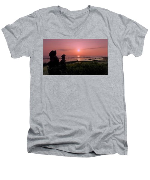 Men's V-Neck T-Shirt featuring the photograph Monoliths At Sunset by Lori Seaman