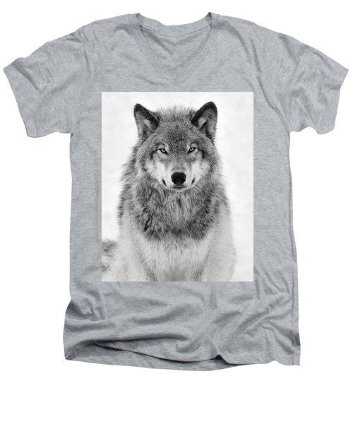 Monotone Timber Wolf  Men's V-Neck T-Shirt