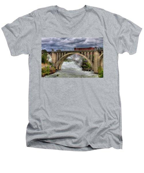 Monroe Street Bridge Spokane Men's V-Neck T-Shirt