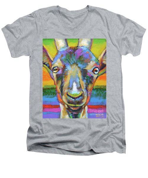 Men's V-Neck T-Shirt featuring the painting Monsieur Goat by Robert Phelps