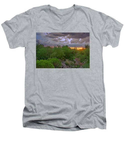 Men's V-Neck T-Shirt featuring the photograph Monsoon Sunset H56 by Mark Myhaver