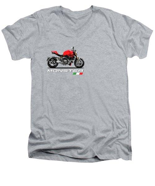 Monster 1200 Men's V-Neck T-Shirt by Mark Rogan