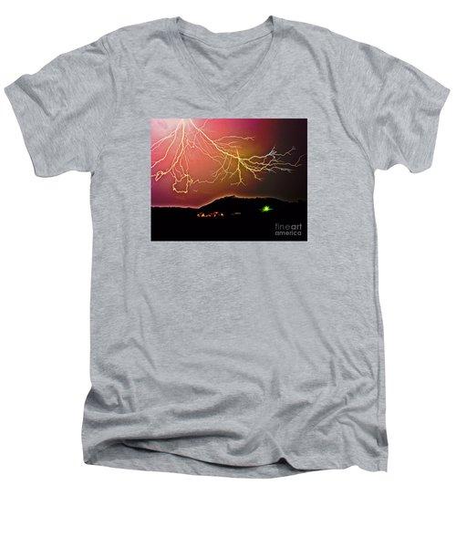 Monster Lightning By Michael Tidwell Men's V-Neck T-Shirt