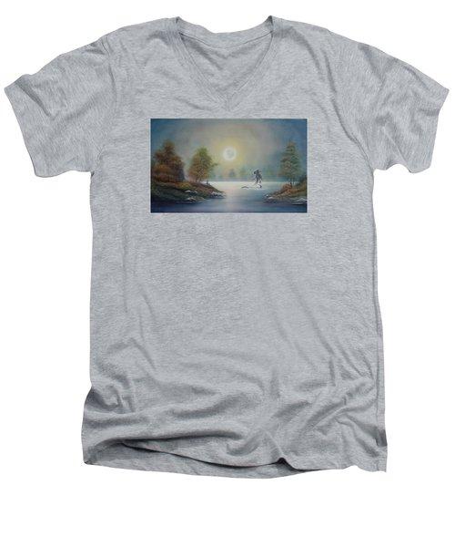 Monstruo Ness Men's V-Neck T-Shirt by Angel Ortiz