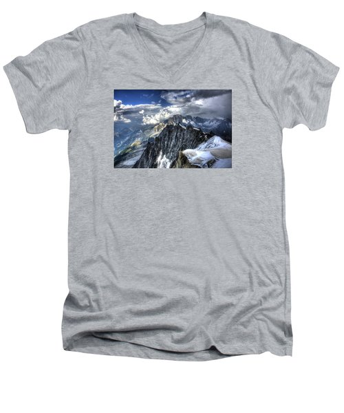 Men's V-Neck T-Shirt featuring the photograph Mont Blanc Near Chamonix In French Alps by Shawn Everhart