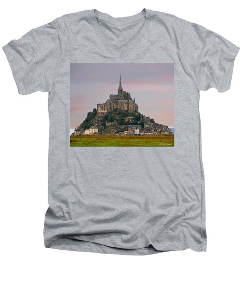 Mont Saint Michel Men's V-Neck T-Shirt by Diana Haronis