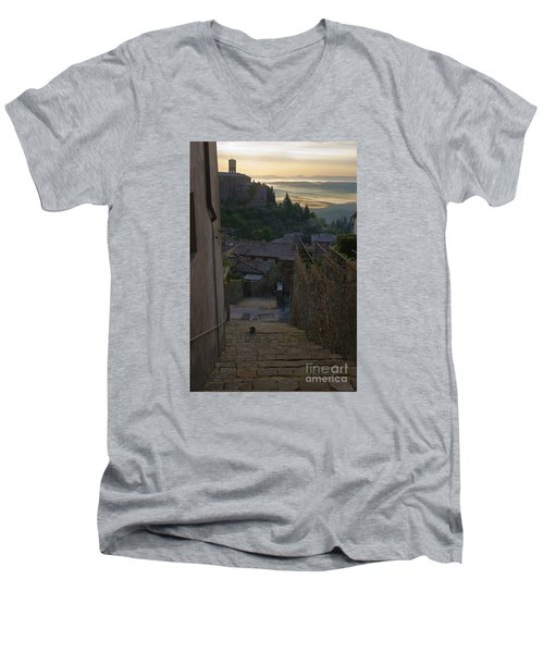 Montalcino City Men's V-Neck T-Shirt by Yuri Santin