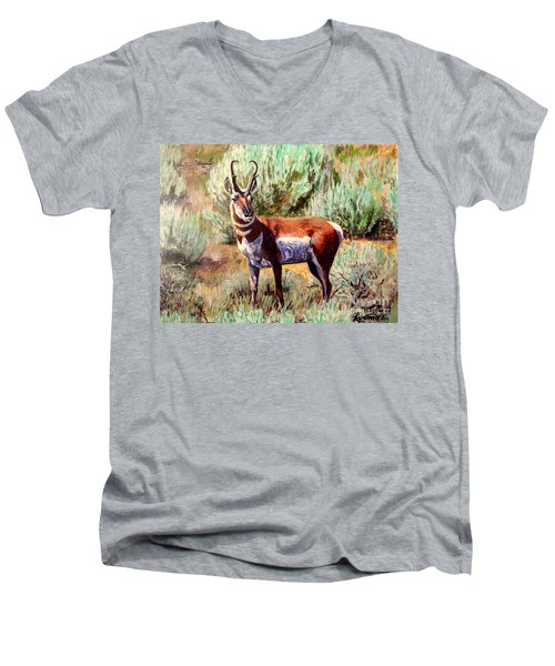 Montana Antelope Buck  Men's V-Neck T-Shirt