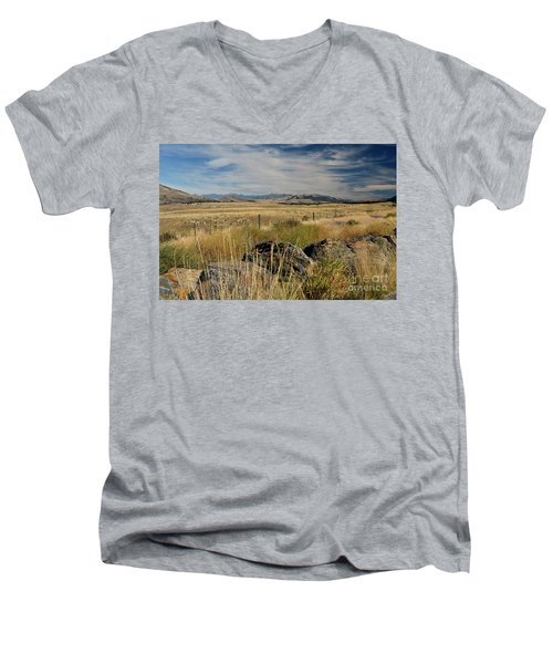 Montana Route 200 Men's V-Neck T-Shirt by Cindy Murphy - NightVisions