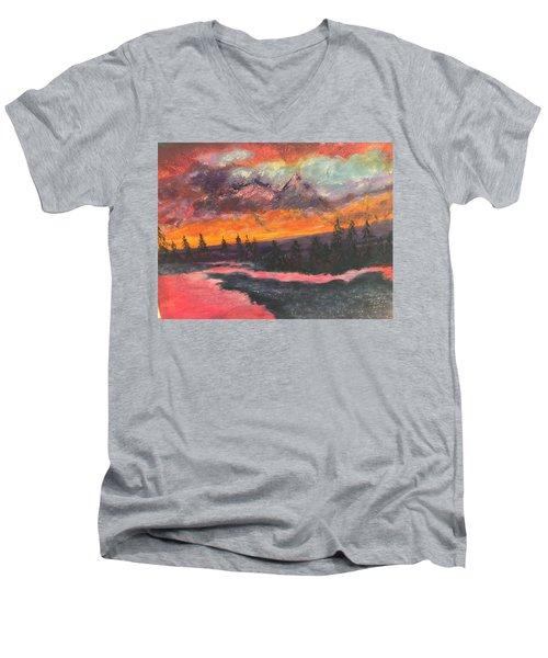 Montana Sunset Men's V-Neck T-Shirt