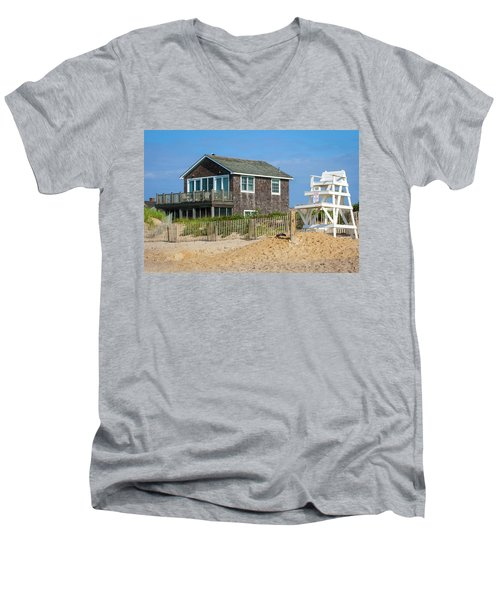 Men's V-Neck T-Shirt featuring the photograph Montauk Beach Life by Art Block Collections
