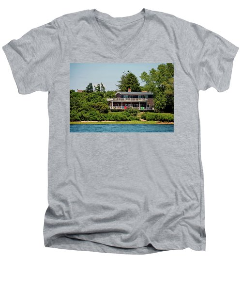 Men's V-Neck T-Shirt featuring the photograph Montauk Beach Towels by Art Block Collections