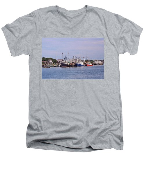 Montauk Fishing Boats Men's V-Neck T-Shirt