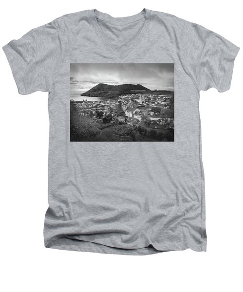 Monte Brasil And Angra Do Heroismo, Terceira Island, Azores Men's V-Neck T-Shirt by Kelly Hazel