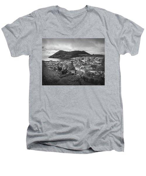 Monte Brasil And Angra Do Heroismo, Terceira Island, Azores Men's V-Neck T-Shirt