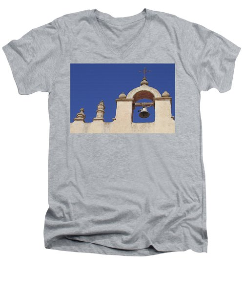 Men's V-Neck T-Shirt featuring the photograph Montecito Mt. Carmel Church Tower by Art Block Collections