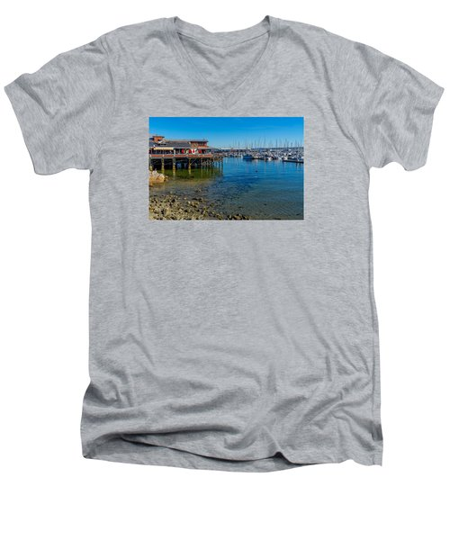 Monterey Harbor Morning Men's V-Neck T-Shirt by Derek Dean