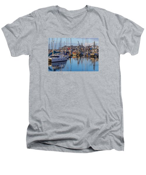 Monterey Marina Afternoon Men's V-Neck T-Shirt by Derek Dean