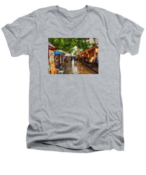 Montmartre Art Market, Paris Men's V-Neck T-Shirt by Carl Amoth