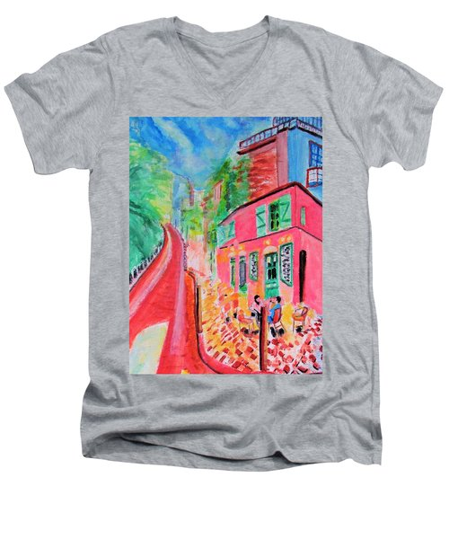 Montmartre Cafe In Paris Men's V-Neck T-Shirt