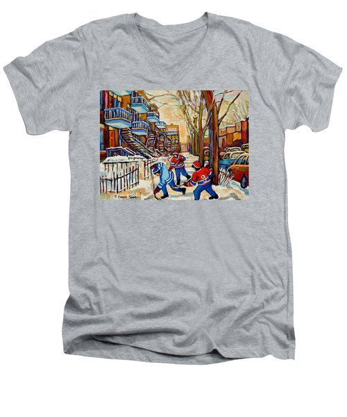 Montreal Hockey Game With 3 Boys Men's V-Neck T-Shirt