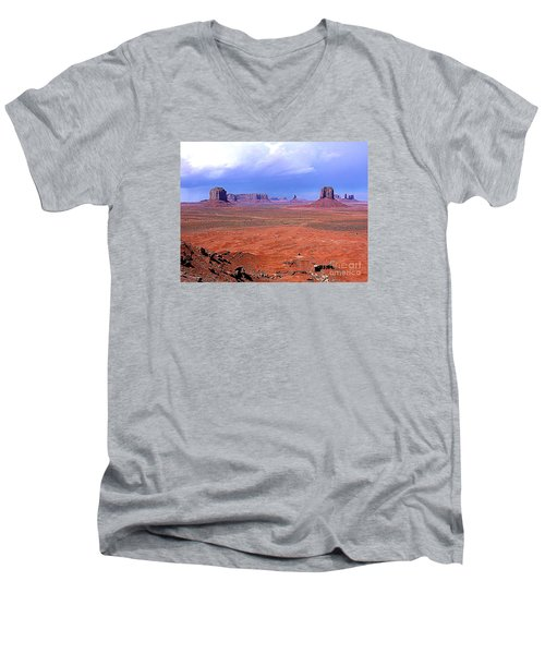 Men's V-Neck T-Shirt featuring the photograph Monument Valley Panorama Landscape by Merton Allen