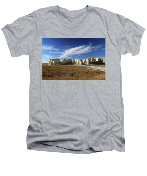 Monument Rock Afternoon  Men's V-Neck T-Shirt by Christopher McKenzie