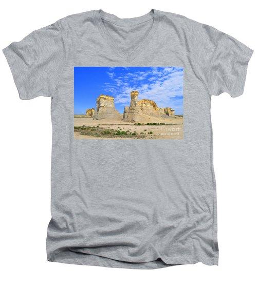 Monument Rocks In Kansas 2 Men's V-Neck T-Shirt