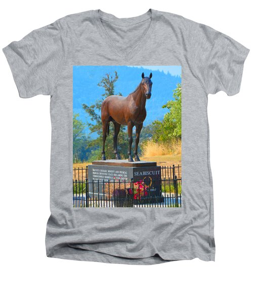 Monument To Seabiscuit Men's V-Neck T-Shirt