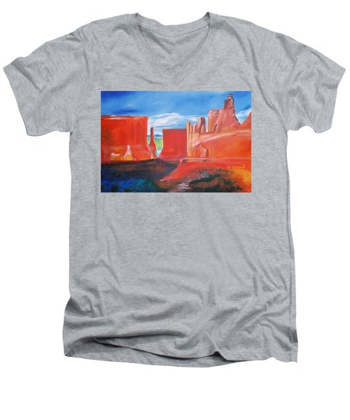 Men's V-Neck T-Shirt featuring the painting Monument Valley  by Eric  Schiabor