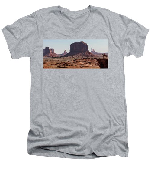 Monument Valley Man On Horse Sunrise  Men's V-Neck T-Shirt