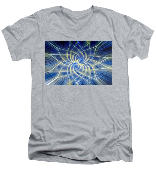 Men's V-Neck T-Shirt featuring the digital art Moody Blue by Carolyn Marshall